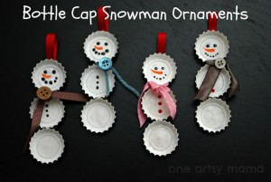 11. Bottle Cap Snowmen