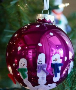 9. Fingerprint Snowmen Baubles